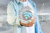Wifi symbol displayed in a sliced sphere - 3d rendering