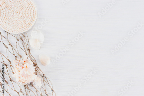 Abstract background with nautical elements on the white wooden surface