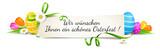 Osterfest Banner mit grüner Schleife und bunten Ostereiern und Blumen Dekoration - Wir wünschen Ihnen ein schönes Osterfest!