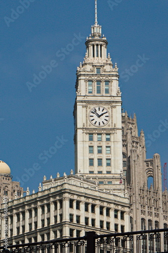 Aluminium Chicago Tower of The Wrigley Building in Chicago in Illinois in the USA