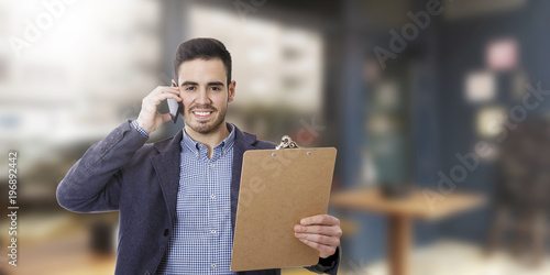 business man with mobile phone and documents - 196892442
