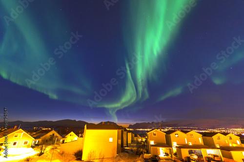 Poster Aubergine The polar lights in Norway. Tromso.