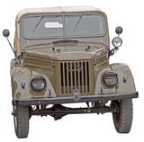 old Soviet army jeep on white