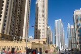 Street and modern buildings in Dubai Marina, UAE