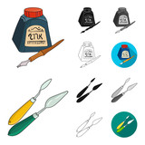 Painter and drawing cartoon,black,flat,monochrome,outline icons in set collection for design. Artistic accessories vector symbol stock web illustration. - 196901014