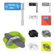 Road junctions and signs and other web icon in cartoon,black,flat,monochrome,outline style.Pedestrian crossings and signs icons in set collection.