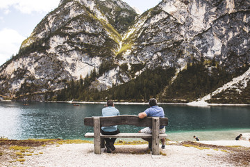 People At Braies Lake