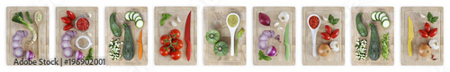 Foto op Aluminium Verse groenten set of cutting boards with many vegetables isolated on white banner background