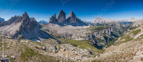 Poster Panoramafoto s Drei Zinnen, Dolomiten, Italien