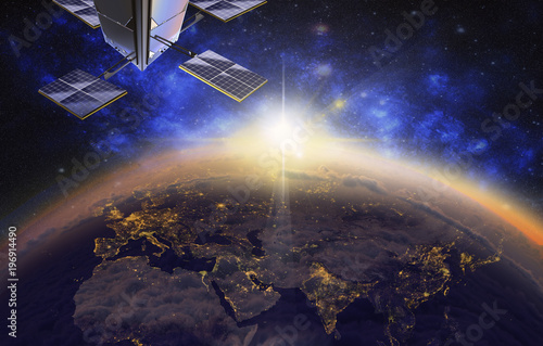 Foto Murales satellite over Europe and Asia, 3d visualization
