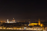 Scenic night view of Florence from the viewpoint of Piazzale Michelangelo, Italy