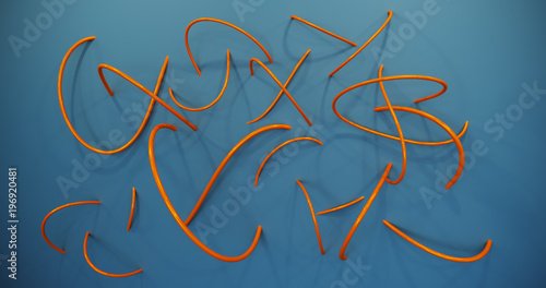 Orange gloss metal bent tubes on the wall with shadows.