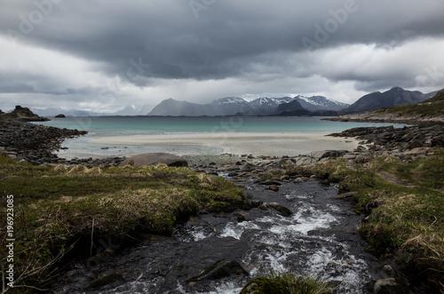 Fotobehang Donkergrijs Lofoten, Norway