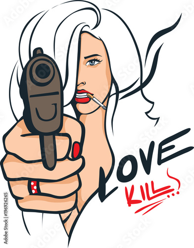 Foto op Aluminium Pop Art Sexy Woman with a Gun Pointing Straight at You - Love Kills - Popart Vector Illustration