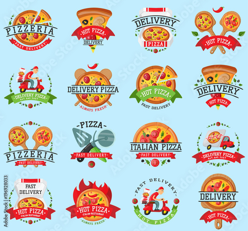 Pizza italian restaurant vector badge icons set illustration. Food and drink pizzeria elements typographic design label or sticker bakery. Cooking menu symbol with traditional pizza Ingredients - 196928033