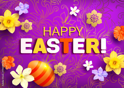 Easter greeting card with flowers and colored egg. Vector illustration.
