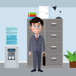 Businessman cartoon at office vector illustration graphic design