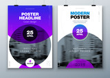 Poster template layout design. Business poster, placard background mockup in bright colors. Vector illustration with gradient circle - 196938852