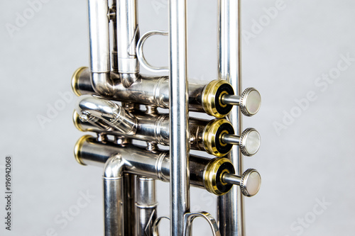 Close up of the brass instrument trumpet - 196942068
