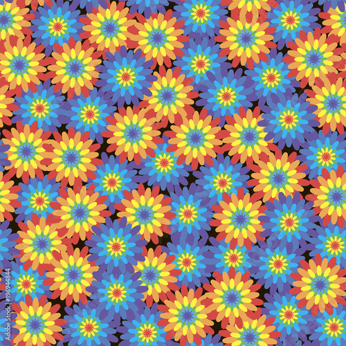 Floral seamless pattern with rainbow-colored flowers on a black background. Vector. - 196944844