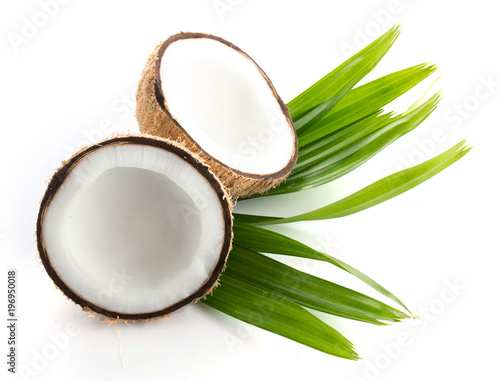 coconuts with leaves isolated on the white - 196950018