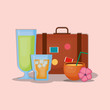 suitcase with cocktail and related icons over pink  background, colorful design vector illustration
