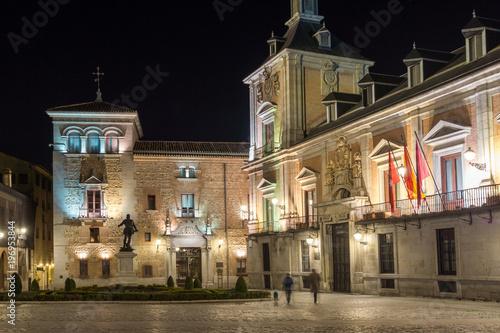 Night photo of Plaza de la Villa in City of Madrid, Spain