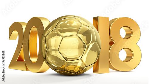 złotej piłki nożnej futbolowa piłka 2018 odizolowywał 3d rendering