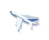 Isometric view of white colored airplane with blue wings isolated on white.
