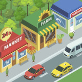 Isometric viewof town street with small stores and road with traffic. - 196957214
