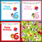 birthday card with kids in animal costume
