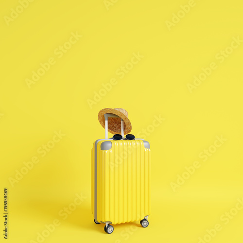 Yellow suitcase with sun glasses and hat on yellow background. travel concept. minimal style © aanbetta