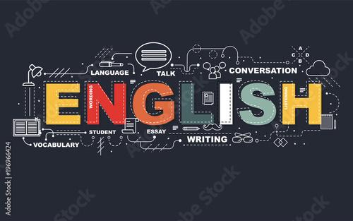 Fototapeta Design Concept Of Word ENGLISH Website Banner.
