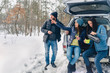 Three best friends travel in winter. Friends relaxing on the weekend in winter