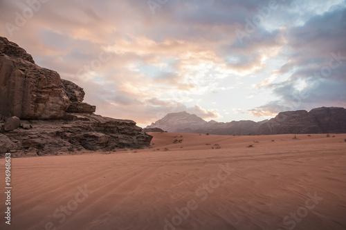 Nice view sand and big rocks in Wadi Rum desert in Jordan Poster