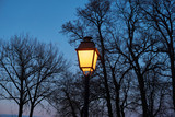 Glowing decorative lantern and blue twilight sky - 196974292