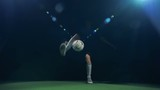 Football soccer palyer preforms impressive dribbling tricks. - 196974890