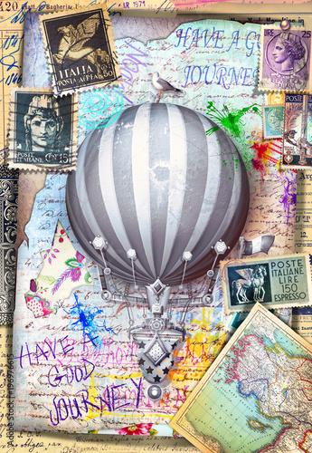 Fotobehang Imagination Collage,cartoline e manoscritti vintage con francobolli e mongolfiera