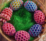 Easter eggs in beads in different colors