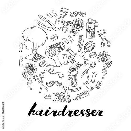 Set of Lettering and Hairdressers Elements: Scissors, Combs, Hair Dryer and etc.
