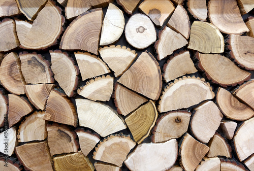 Foto op Aluminium Brandhout textuur Stacked log of firewood as a background