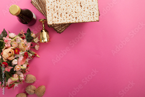 copy space frame with passover elements on pink studio background - 196978029
