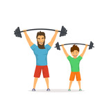 father and son exercising together, lifting barbells in gym, dad gives good example to his kid, healthy lifestyle active family