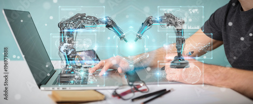 Graphic designer using robotics arms with digital screen 3D rendering