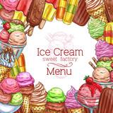 Vector ice cream desserts sketch menu poster
