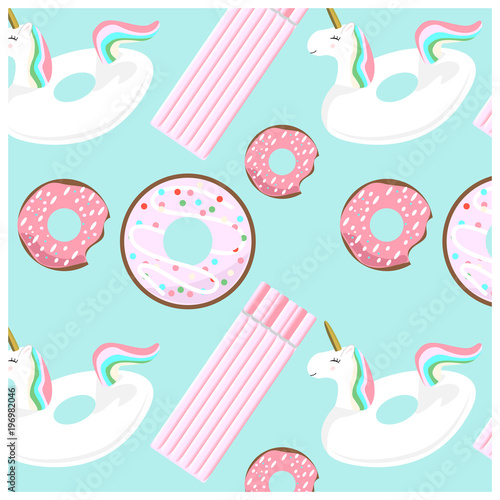 Cotton fabric Cute summer seamless pattern with unicorns and donuts inflatables. Pink and colorful flat elements