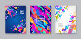 Set of cover with abstract multicolored shapes. Vector illustration template, - 196983697