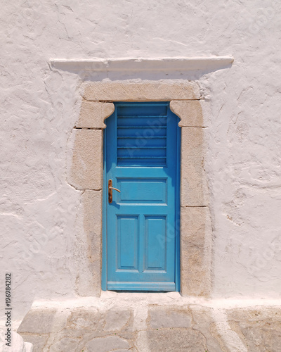 blue door, Mykonos island, Greece