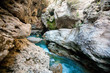 Mountain river, rocky shores - 196984452