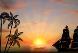 ship and palm silhouettes at sunset - 196985827